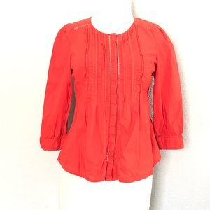 Anthropologie Meadow Rue Orange Button Up Top